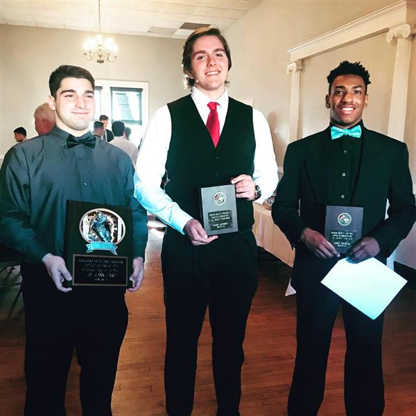 Athletes honored at the MCFCA All-County Banquet.  From left to right: Joe Cannizzaro (Offensive Player of the Year), James Jacobson (1st Team All-County), and Corey Dempster (1st Team All-County).